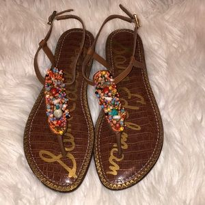 NWOT Sam Edelman Beaded Shell Thong Sandals